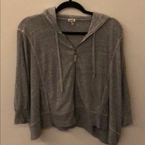 Splendid grey hooded crop sweatshirt